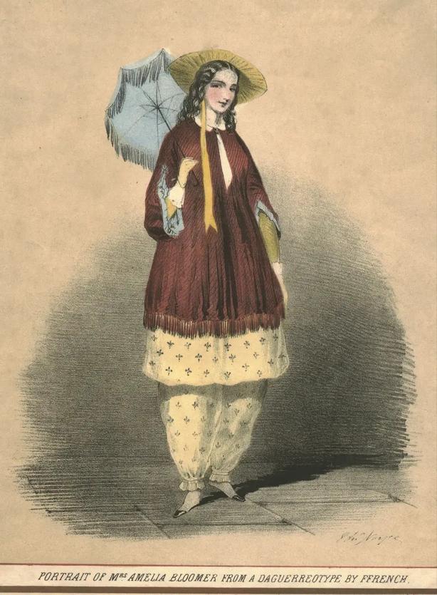 Amelia Bloomer wearing her signature loose pantaloons (Alamy/PA)