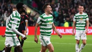 James Forrest celebrates after scoring Celtic's third goal