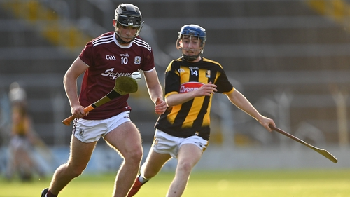 Darren Shaughnessy of Galway in action against Killian Carey of Kilkenny