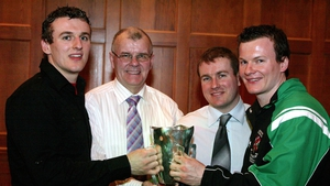 James McCartan snr pictured with sons Eoin, Daniel (players) and James jnr (manager) after Queen's Sigerson success in 2007