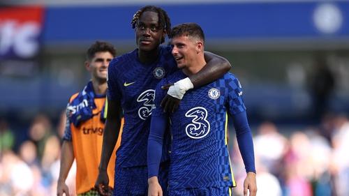 Chelsea academy graduates Trevoh Chalobah and Mason Mount celebrate victory