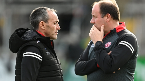 Tyrone joint-managers Brian Dooher (L) and Feargal Logan
