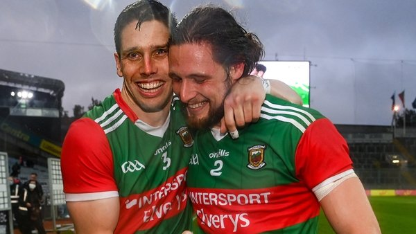 Lee Keegan (L) with Pádraig O'Hora at the final whistle