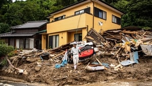 Houses damaged by a landslide triggered by heavy rain in Kanzaki, Saga prefecture