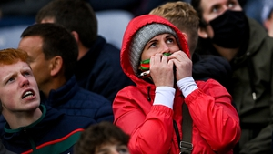 Is this the year? Mayo fans watch on during the All-Ireland semi-final match clash with Dublin. Photo: Ramsey Cardy/ Sportsfile via Getty Images