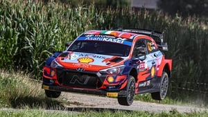Craig Breen and Paul Nagle in action during the Ypres Rally Belgium