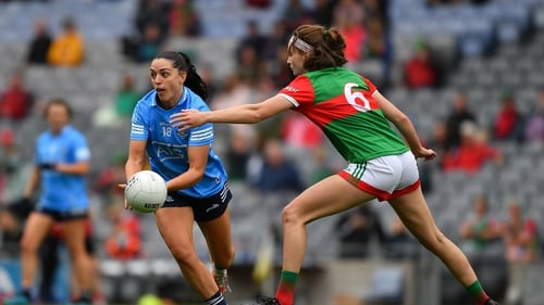 Sinéad Goldrick of Dublin in action against Ciara Whyte of Mayo