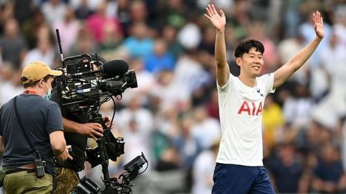 Son Heung-min salutes the crowd after Spurs' win