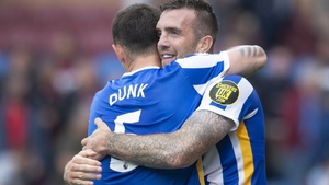 Shane Duffy back in celebratory mode with old defensive partner Lewis Dunk
