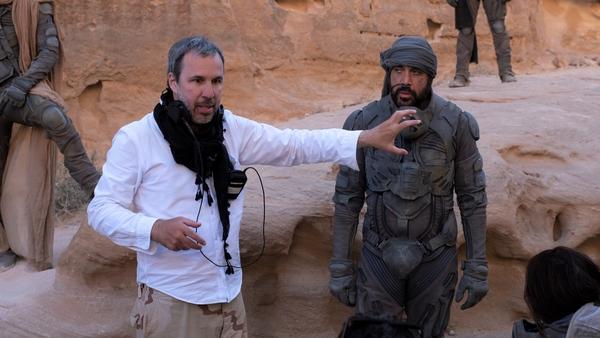 Director Denis Villeneuve on the set of Dune in Jordan with Javier Bardem, who plays Freman leader Stillgar