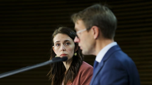 Jacinda Ardern and Director-General of Health Dr Ashley Bloomfield address the media