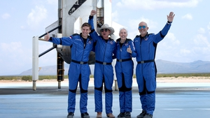 Blue Origin's New Shepard crew, Oliver Daemen, Jeff Bezos, Wally Funk, and Mark Bezos, after flying into space in the Blue Origin New Shepard on July 20, 2021