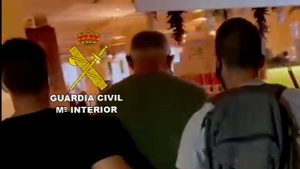 Video footage released by Spanish police shows Gerard Hutch being arrested at a restaurant in Fuengirola
