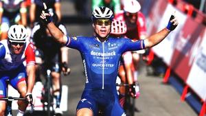 Fabio Jakobsen crosses the line for his stage win