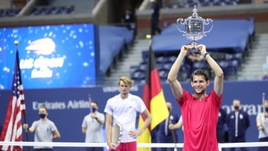 Dominic Thiem lifts the trophy at Flushing Meadow last autumn