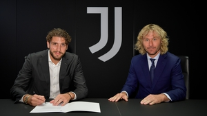 Manuel Locatelli, pictured with ex-Juventus midfielder and current vice chairman Pavel Nedved