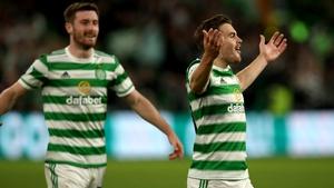 James Forrest of Celtic FC celebrates after he scores the second