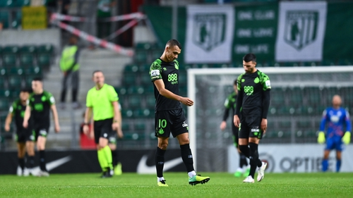 Shamrock Rovers players dejected after conceding their fourth goal