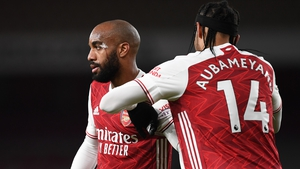 Aubameyang has been cleared to return but Lacazette (l) will miss the game against Chelsea