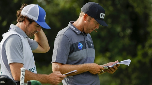 Seamus Power waits on the 16th tee during the first round