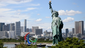The 'Three Agitos' Paralympic Symbol on Tokyo Waterfront