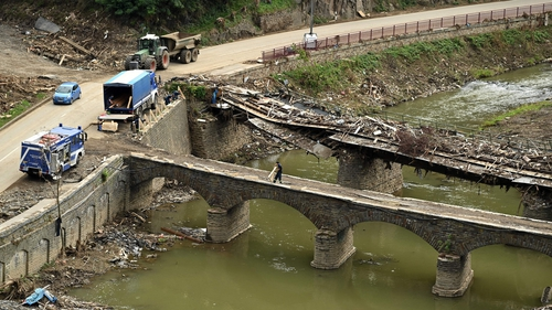 Bridges destroyed by floods in Rhineland-Palatinate, western Germany, weeks after heavy rain and floods caused major damage in the Ahr region