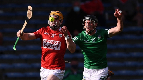 Cork's Niall O'Leary (L) in action against Darragh O'Donovan of Limerick during last July's Munster SHC semi-final