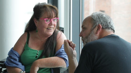 Playwright Rosaleen McDonagh pictured with her Walls And Windows director Jason Byrne