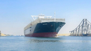 MV Ever Given is travelling from Felixstowe in England to China (Pic: Suez Canal Authority)