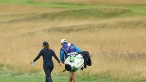 Leona Maguire on her way up the fourth hole at Carnoustie