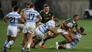 Damian Willemse of South Africa is tackled during the win over Argentina