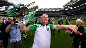 Limerick manager John Kiely with the Liam MacCarthy Cup