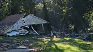 A view of the damage after heavy rain and devastating floods in Waverly, Tennessee