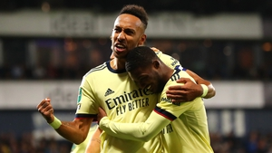Pierre-Emerick Aubameyang celebrates Arsenal's fifth goal against West Brom