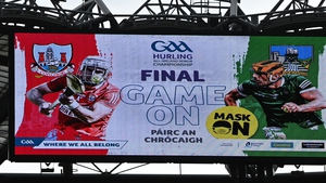 A message at the All-Ireland hurling final encouraging spectators to wear a face-mask