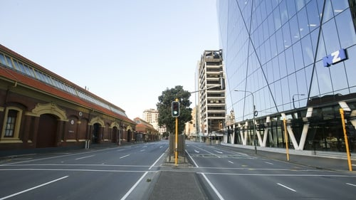 An empty Customhouse Quay during level 4 lockdown in Wellington, New Zealand
