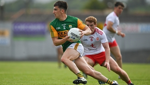 Brian Ó Beaglaoich in action against Peter Harte of Tyrone during the league