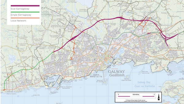 The 18-kilometre route would run from west of Bearna to the existing M6 motorway (Pic: N6 Galway City Transport Project)