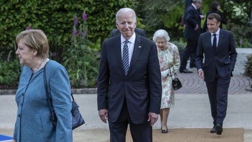 Joe Biden at a drinks reception for Queen Elizabeth II and G7 leaders during the G7 Summit