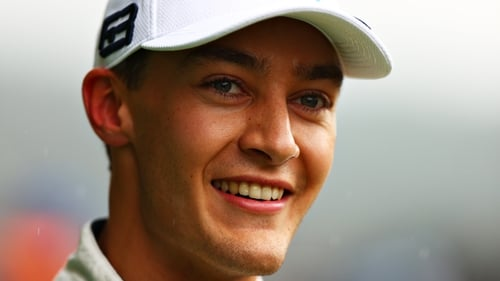 George Russell was all smiles after securing second spot on the grid in Belgium.