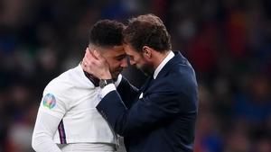 Southgate consoles Jadon Sancho after the Euro final.
