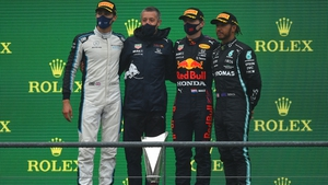 Russell (l), Verstappen (second from right) and Hamilton (r) on the podium