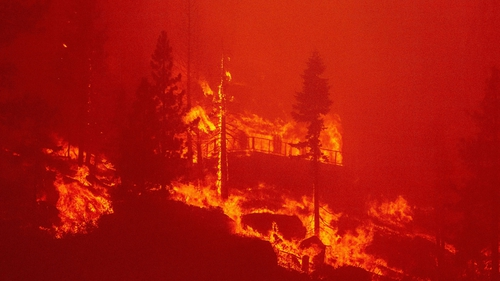 A home is destroyed near Lake Tahoe as the Caldor fire rages through California