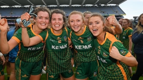 Meath players, from left: Kate Byrne, Orla Byrne, Aoibheann Leahy and Shauna Ennis celebrate their win against Cork