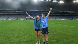 Sinead Goldrick (L) and Sinead Aherne celebrating Dublin's All-Ireland triumph last December