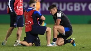 A player undergoes a head-injury assessment