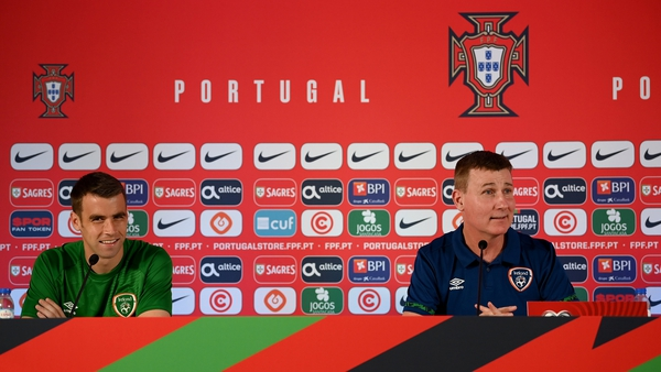 Stephen Kenny and Seamus Coleman during the press conference in Faro