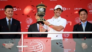 Rory McIlroy presented with the Old Tom Morris Cup after the final round in 2019