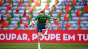James McClean, who recently rejoined Wigan, pictured training at the Estadio Algarve