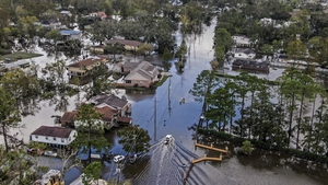 An aerial photo made with a drone shows damage caused by Hurricane Ida in Jean Lafitte, Louisiana